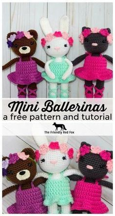 Free Pattern Mini Ballerina Animal Crochet Dolls - These mini dolls work up super quick but with all the cute!