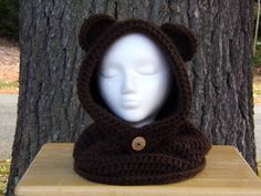 Bear Hooded Cowl, Hooded Cowl, Bear Hat, Cowl, Hat Scarf, Child Bear Hooded Cowl, Adult Bear Hooded Cowl, Hat - pinned by pin4etsy.com