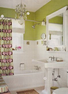 green bathroom with bold shower curtain - Green Bathroom Idea
