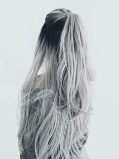 Straight Full Head Clip in Synthetic Hair Extensions white silver hair ombre hair color Hair Dye Colors, Ombre Hair Color, Cool Hair Color, Grey Ombre, Hair Inspo, Hair Inspiration, Cheveux Oranges, Silver Ombre Hair, Silver Hair Colors
