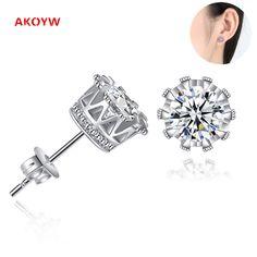 2017 Luxury semi - precious stones crown earrings women 's temperament fashion OL jewelry aesthetic simple men' s earrings 6MM