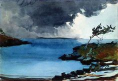 Winslow Homer. The coming storm, 1901.  A vibrant little watercolor.