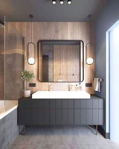 Find the best modern bathroom ideas, bathroom remodel design & inspiration to match your style. Browse through images of bathroom decor & colours to create your perfect home decor. Modern Bathroom Mirrors, Bathroom Mirror Design, Wood Bathroom, Grey Bathrooms, Bathroom Colors, Bathroom Interior Design, Bathroom Furniture, Small Bathroom, Bathroom Ideas