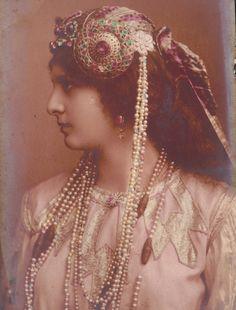 Beautiful Girl in Superb Art Nouveau Headress. Biogravure by Steglitz, Berlin, 1904 via Etsy