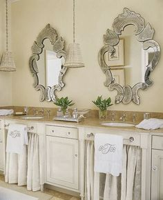 I LOVE this bathroom and the towel placement - His and hers sinks with Venetian mirrors, skirted sinks, monogrammed towels and pleated fabric pendant lights - Norman Davenport Askins Architect Sink Design, Bath Design, Sink Skirt, His And Hers Sinks, Bathroom Inspiration, Bathroom Ideas, Bathrooms Decor, Small Bathrooms, Bathroom Vanities