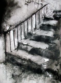 This drawing of stairs was created with charcoal. The charcoal in this drawing creates an unpolished and more abstract look. How To Draw Stairs, Charcoal Art, Charcoal House, Charcoal Drawings, Tinta China, Drawing Techniques, Art Sketchbook, Dark Art, Art Inspo