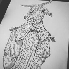 Sainte biquette #draw #drawing #montage #illustration #illustrator #linework #tattoo #flashtattoo #tatouage #animal #holy #virgin #goat #ink #paper #darkartists #blackwork #hydeomega #line