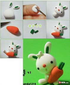 Easter Bunny Clay Crafts Fimo Sculpey Modelling Polymer Crafts with Sculpting clay Free Kids Activities Clay Projects Templates and Ideas Cute Adorable Kawaii Critters and Creatures: Sculpey Clay, Polymer Clay Projects, Polymer Clay Charms, Polymer Clay Creations, Polymer Clay Art, Clay Crafts, Diy Fimo, Crea Fimo, Jumping Clay