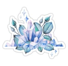 Cute watercolor design with pastel colored crystals and rose leaves Also buy this artwork on stickers apparel phone cases and more. Kawaii Stickers, Cool Stickers, Printable Stickers, Laptop Stickers, Planner Stickers, Crystal Drawing, Owl Pictures, Tumblr Stickers, Aesthetic Stickers