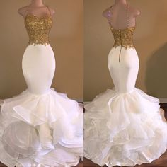 Beading Spaghetti Straps Mermaid Organza Prom Dresses 2017