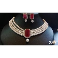 royal pearl necklace with ruby