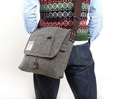 Upcycled tweed bag. Too good for a man.