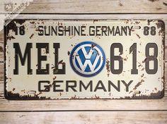 VOLKSWAGEN VW Metal Tin Sign License Plate Mancave plaque poster logo car