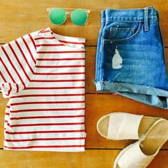 Beach bound? This look is perfection: Madewell striped tee, vintage Levis and Forever 21 faux-suede espadrilles that won't break the bank (they're under $20!). #ssCollective #ShopStyleCollective #MyShopStyle #ootd #mylook #summerstyle #lookoftheday #currentlywearing #wearitloveit #getthelook #todaysdetails #madewell #forever21 #momstyle #PSmoms #denimlook #gablogger #atlblogger #atlantafashionblogger #fashionblogger #thatsdarling #mystyle
