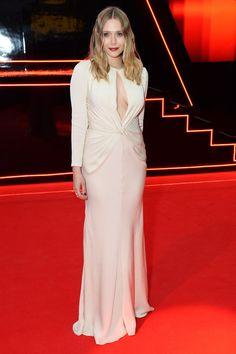 Elizabeth Olsen wearing Alexander McQueen the European premiere of Captain America: Civil War in London