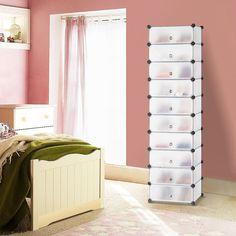 amazoncom langria 10cube diy modular shoe rack tower multi use