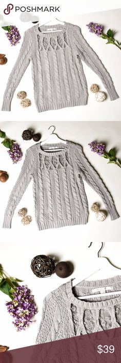 LC LAUREN CONRAD Gray Cable Knit Lace Sweater - M This is the perfect item for fall and winter! Beautiful color and very versatile piece, perfect to match it with your favorite jeans and boots!  •Pre-owned in great condition •Size Medium •No pets, Non Smoker Home •Bundle with at least one more item for a private discount! •All offers welcome and will be considered! LC Lauren Conrad Sweaters