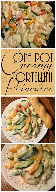 One Pot Creamy Tortelini Primavera | A creamy and satisfying one pot meal that is FULL of vegetables and flavor