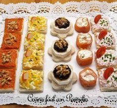 Canapés variados fáciles y rápidos Baby Food Recipes, Cooking Recipes, Best Party Food, Sushi, Crazy Cakes, Happy Foods, Mediterranean Recipes, Appetizers For Party, Catering