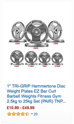 1 TRI-GRIP Hammertone Disc Weight Plates EZ Bar Curl Barbell Weights Fitness Gym 2.5kg to 25kg Set (PAIR) TNP Accessories - #Fitness #Cardio #Gym #Nutrition
