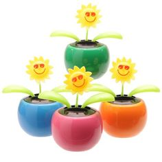 Funky Sunflower Design Solar PalOur range of solar pals a perfect gift for all the family. Made from plastic they have a built in solar panel that doesn't need batteries, they just need a sunny window sill to get them dancing and waving. Sunflower Design, Flower Ornaments, Plant Design, Potted Plants, Plant Pots, Solar Power, Decoration, The Ordinary, Planting Flowers