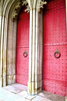 Winchester Cathedral red nail head doors, Winchester, England  (Jane Austen is buried here.)