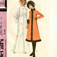 McCall's 2676, A Below Knee or Evening Length, High Waist, Standing Collar A-Line Coat Pattern by So Sew Some!