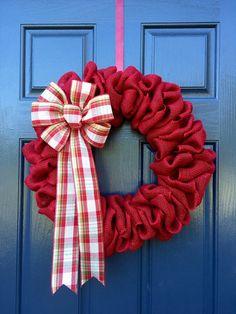 Red Burlap Wreath Red Christmas Wreath Burlap by WreathsByRebeccaB