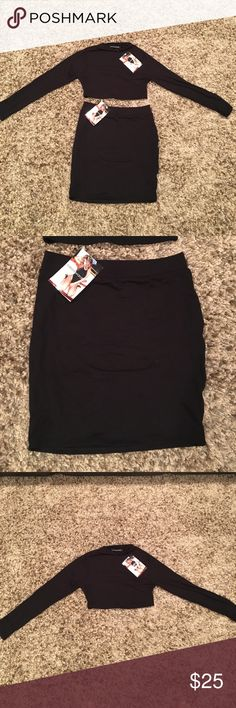 Two piece set Naked Wardrobe mini skirt and top. New with tags. Black form fitting. Perfect for summer Dresses Mini