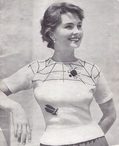 jean simmonds fair isle spider knitting pattern 1940s I thought this was Natalie Portman for a moment, whoa.
