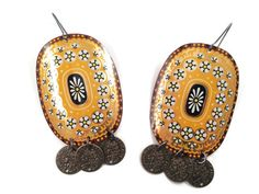 Gypsy Earrings, Recycled Tin, Yellow and Black by TinMoonJewelryworks on Etsy.  $20.