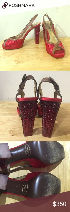 Authentic PRADA Runway heels Gorgeous red satin PRADA heels, runway edition, worn once, tan leather trim and a bejeweled heel, seriously one of a kind. Open to all offers and very selective trades for something special, trade value is higher than listed price Prada Shoes Heels
