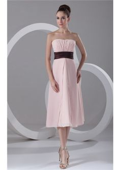 Pink Chiffon Tea Length A-line Ruched Strapless Zipper  Sleeveless Homecoming / Bridesmaid  Dresses