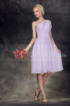 Terrific Ruched A-Line One-Shoulder Knee-Length Nastye's Bridesmaid Dress