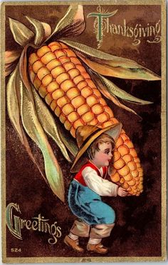 Vintage Thanksgiving Embossed Postcard Farmer Boy w/ Giant Ear of Corn 1909
