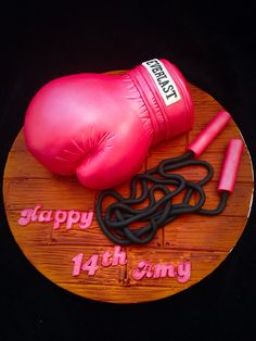 Boxing glove and skipping rope cake