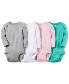 Carter's Baby Girls' 4-Pack Long-Sleeve Solid Bodysuits