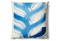 Macramé 20x20 Cotton Pillow, Blue