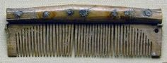 10-11th C. York. Bone comb; spine of comb with incised cross-hatching and hole which corresponds with another hole in the case.  Graham-Campbell 1980 Composi...