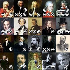 ThingLink music ed example - classical composers linked to their most-liked compositions. by Roger Gunn