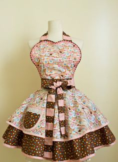 Cupcake Apron in Sweet Chocolate and Pink Retro by OliviasStudio, Thats IT! Thats the one Ive been looking for ALL MY LIFE :)