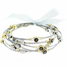 Designer Inspired Bling Bling Whisper Bracelets, Silver & Gold Wire Bracelet with Black Diamond Crystals & Shiny Beads Hail Mary Gifts, http://www.amazon.com/dp/B009037GBE/ref=cm_sw_r_pi_dp_g8.Dqb1NDJ1VF