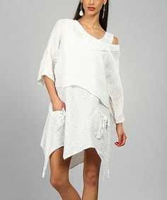 This White Elsa Linen Handkerchief Dress by 100% LIN BLANC is perfect! http://www.zulily.com/?SSAID=930758&tid=acceleration_930758 #zulilyfinds