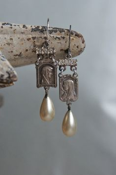 Vintage assemblage earrings silver rosary by frenchfeatherdesigns, $59.00