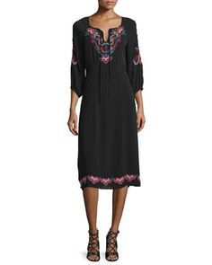 3/4-Sleeve+Midi+Dress+with+Embroidery+by+Nanette+Lepore+at+Neiman+Marcus.