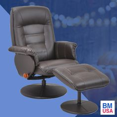 Benchmaster Reclining Swivel Chair With Ottoman   This 360 Degree Swivel chair is On Sale for $189.88!   This stress-free swivel reclining chair is designed for ultimate comfort, long-lasting durability and sturdy support, in a durable, easy to clean vinyl. The recliner has full 360 degree swivel motion and stops in an infinite number of positions.  - Recliner - Sale - Lazy Sunday - Chair - Home - Furniture - Living Room - Home Decor - Relax - Deals