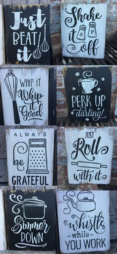 Details about Rustic Wood Signs - The Cute Kitchen Collection - 10 - Free Color Customization - Ah I love these funky yet rustic kitchen signs! I want one of each have a kitchen gallery wall! Rustic Wood Signs, Rustic Wall Decor, Rustic Walls, Easy Wall Decor, Country Decor, Rustic Wood Crafts, Small Wall Decor, Country Sayings, Wooden Pallet Crafts