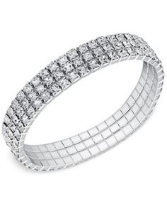 Say Yes to the Prom Silver-Tone Crystal 3-Row Stretch Bracelet, a Macy's Exclusive Style