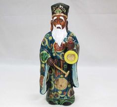 Japanese Antique Kutani Porcelain Okimono of a Chinese Man with Bronze Temple Bell from the Many Faces of Japan on Ruby Lane @meredith2504