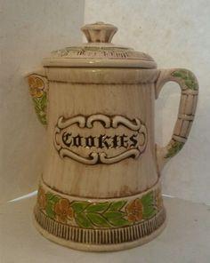 Vintage Treasure Craft Coffee Tea Pot Flower Cookie Jar